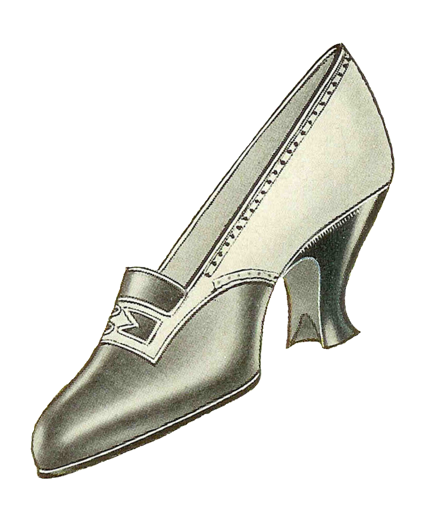Shoe fashion 1917 vintage black and white pump from clothes catalog