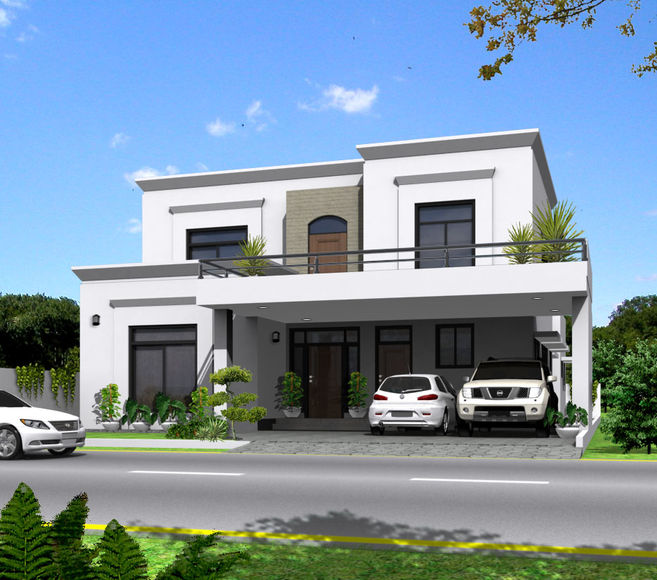 3d front 1 kanal 10 marla house plan maps for Main front house design