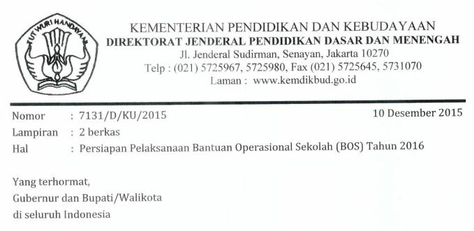 Surat edaran kemdikbud pelaksanaan dana BOS tahun 2016