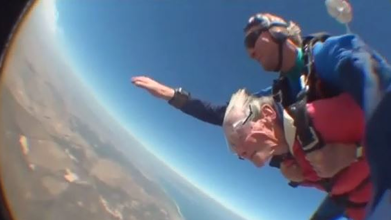 100 Years Old Mama Jumps Out From A Plane
