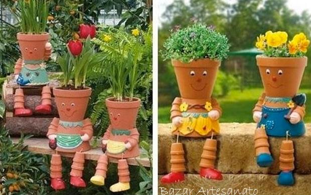 Muñecos macetero reciclados