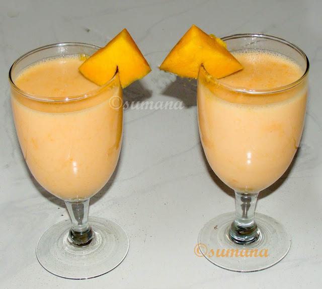 Mango mocktail, mango shake, cool mango drdink