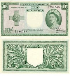 QEII Maltese Ten Shilling Note