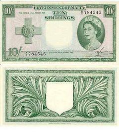 QEII Maltese Ten Shilling Note