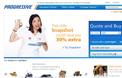 Progressive Insurance homepage