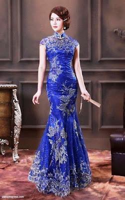 Gaun Pesta ala China Brokat Biru