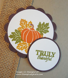 Fall Thanksgiving Card made with Stampin'UP! September 2015 Paper Pumpkin Kit Stamp Set