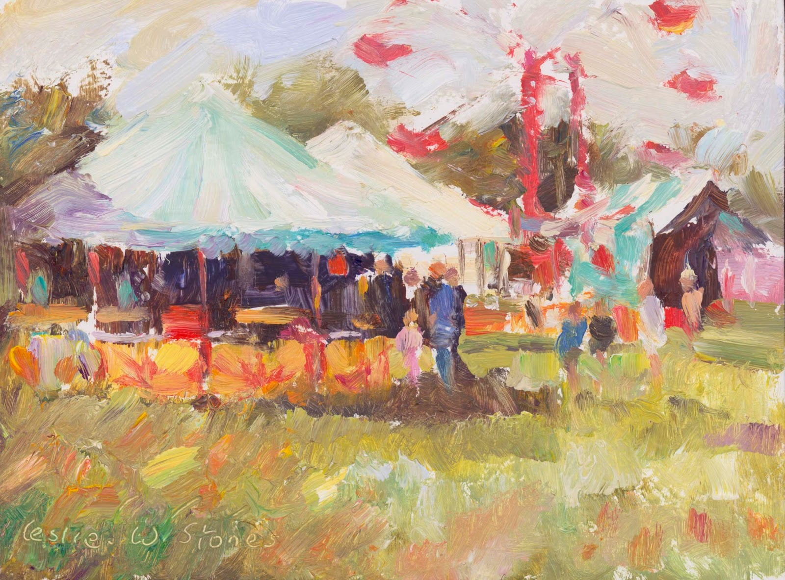 colourful oil painting of a fairground