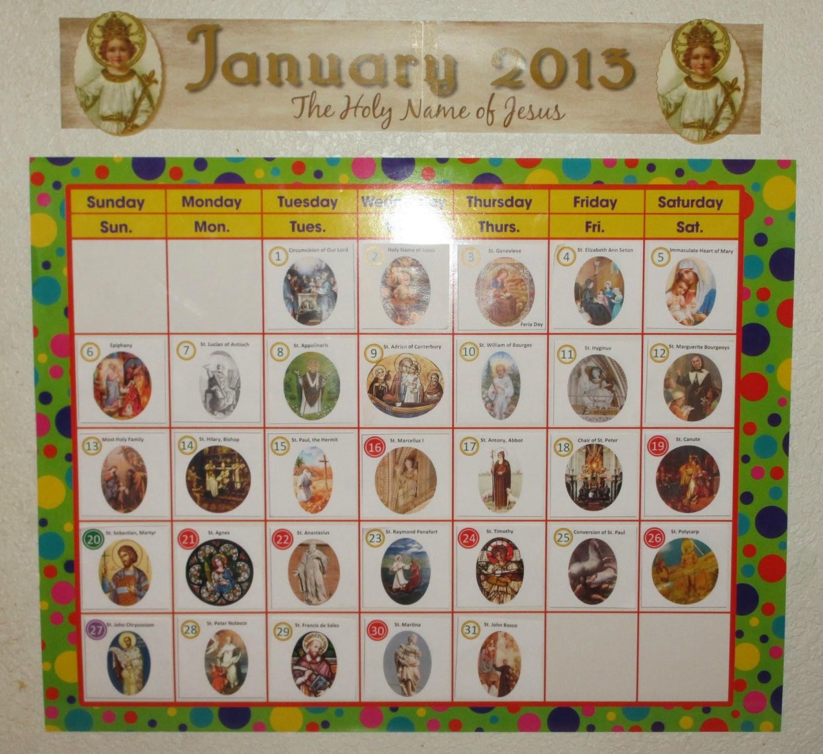 Catholic Saints For Kids Catholic calendar. saint of