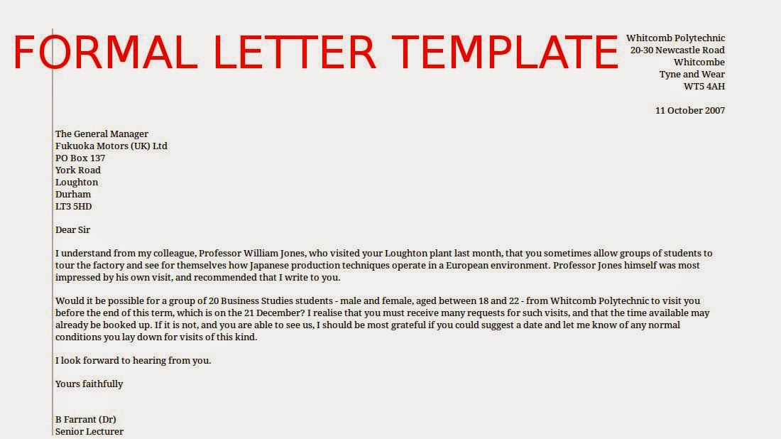Formal Letter Example. Sample Formal Congratulations Letter