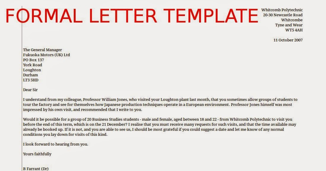 formal emails template