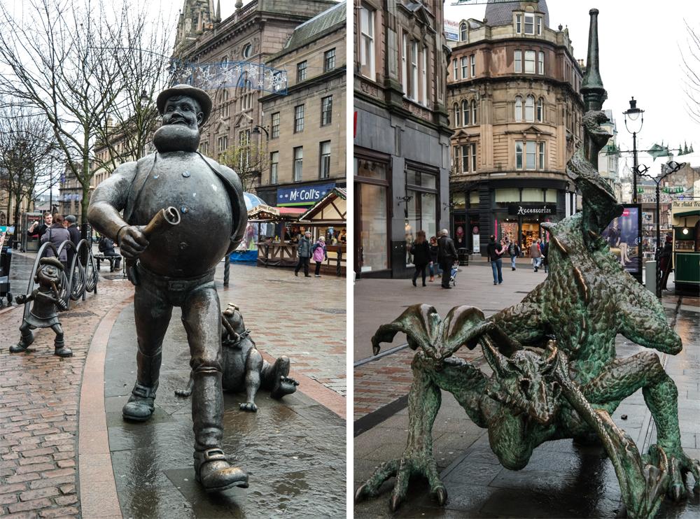 Desperate Dan and Dragon Statues