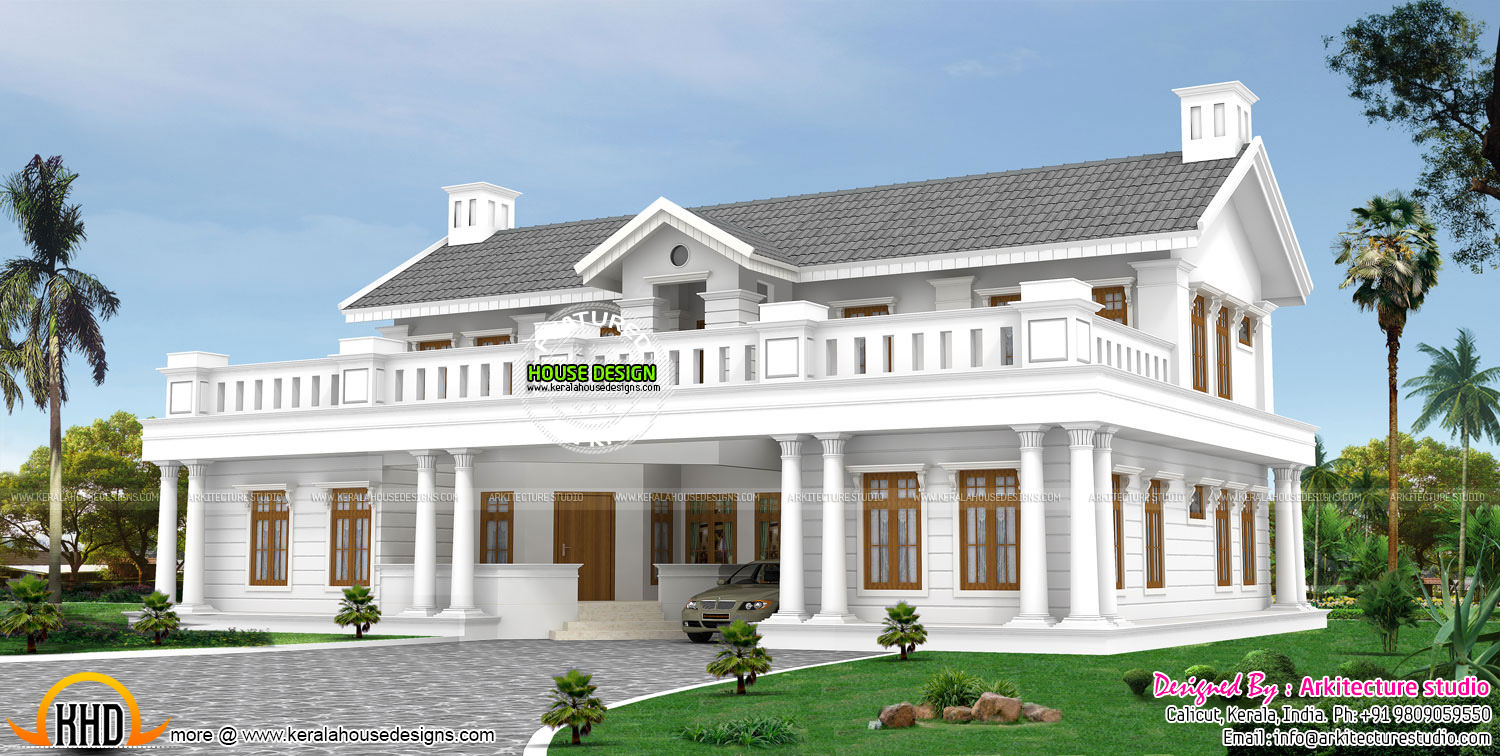 Colonial type modern luxury home - Colonial Luxury House Plans October 2015 Kerala Home Design And Floor Plans