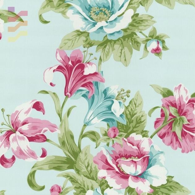 tapeta w kwiaty ba błękitnym tle
