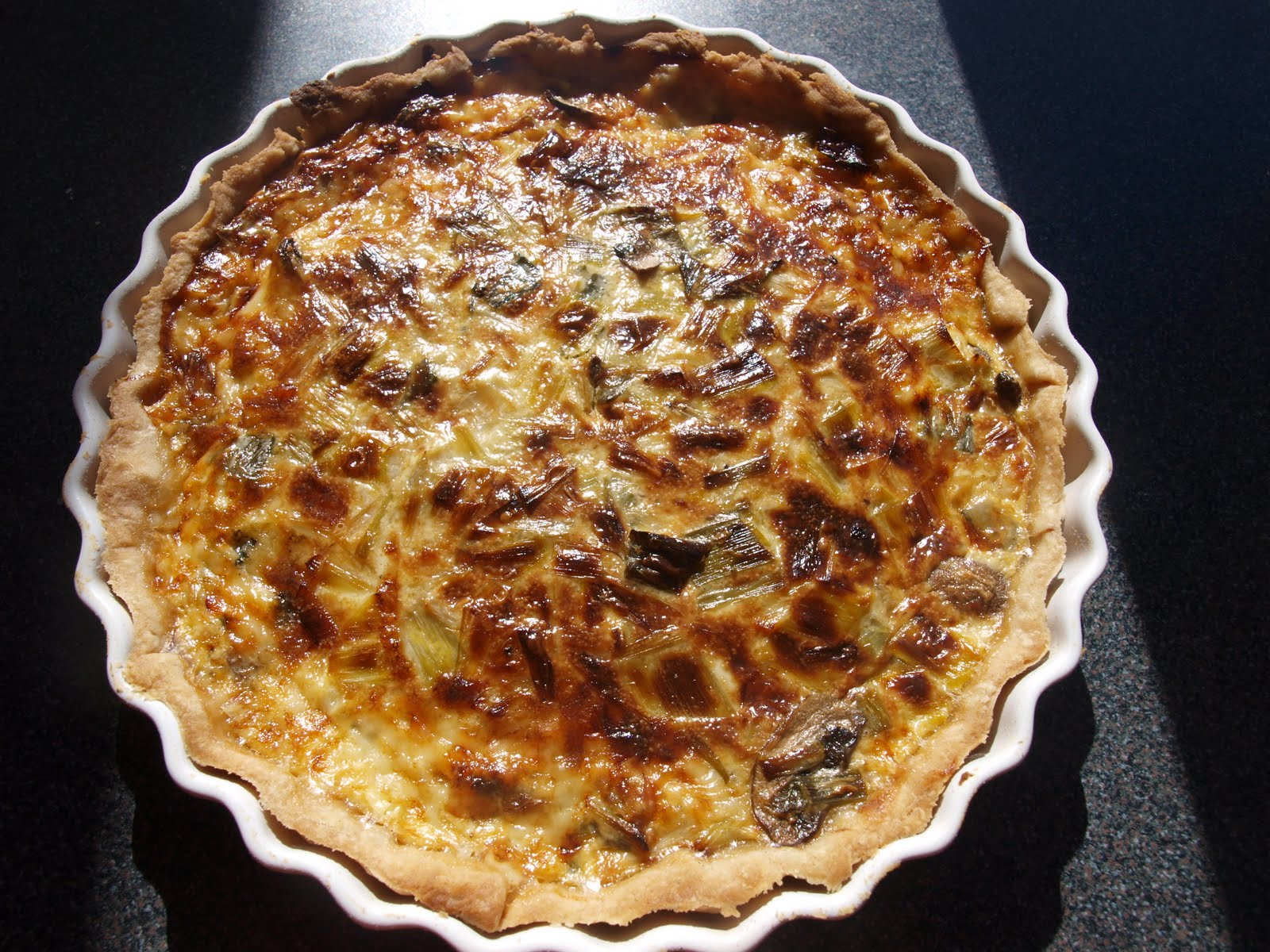 ... Bit of Heaven...: Leek, Mushroom, Gruyere and Blue Stilton Quiche