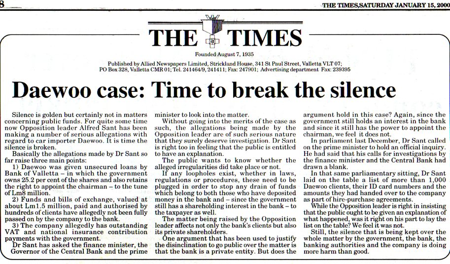 Daewoo case:Time To Break The Silence