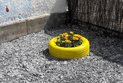 Landscape design rubber flower pot for Car tire flower planter