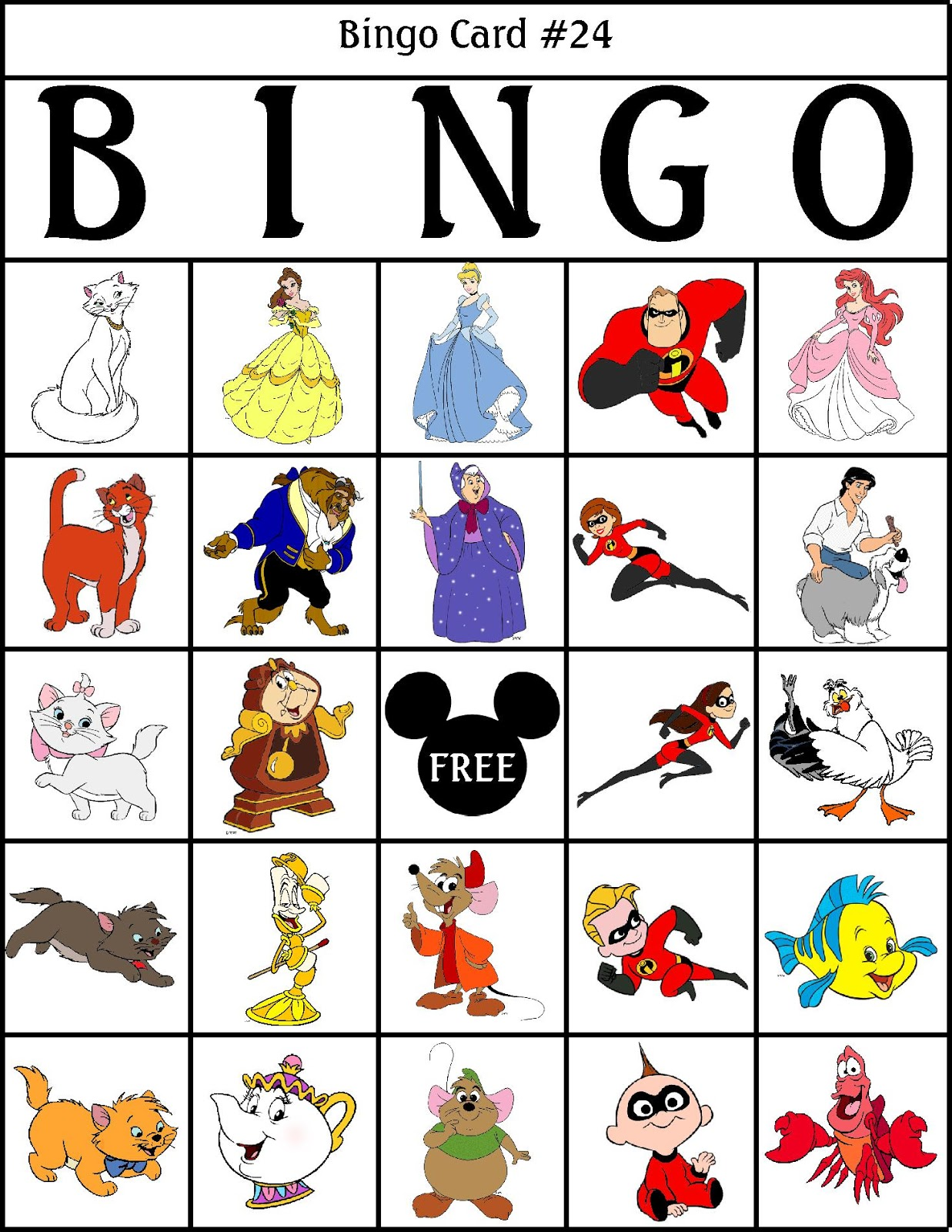 Robbygurls creations disney bingo here are the bingo numbers you can just throw them into a hat a bowl a bag or even leave them in the page protector from the binder and call the solutioingenieria Gallery