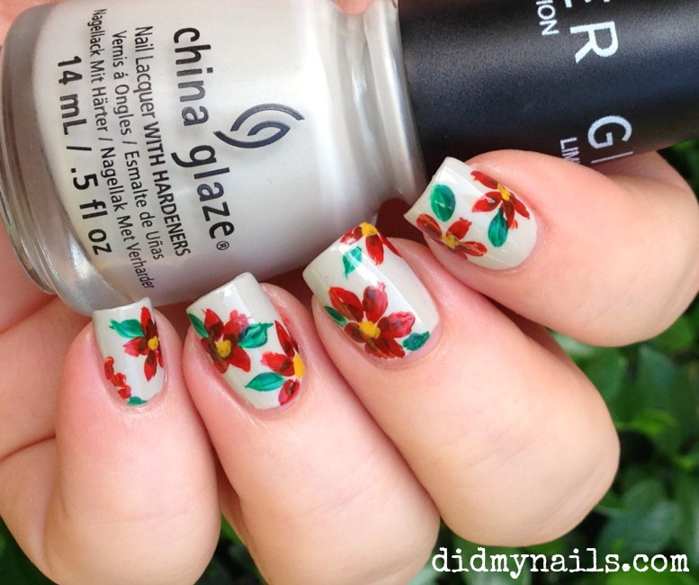 Red Nail Art Flowers