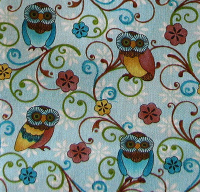 Closeup of Who's Who owl fabric at Freemotion by the River