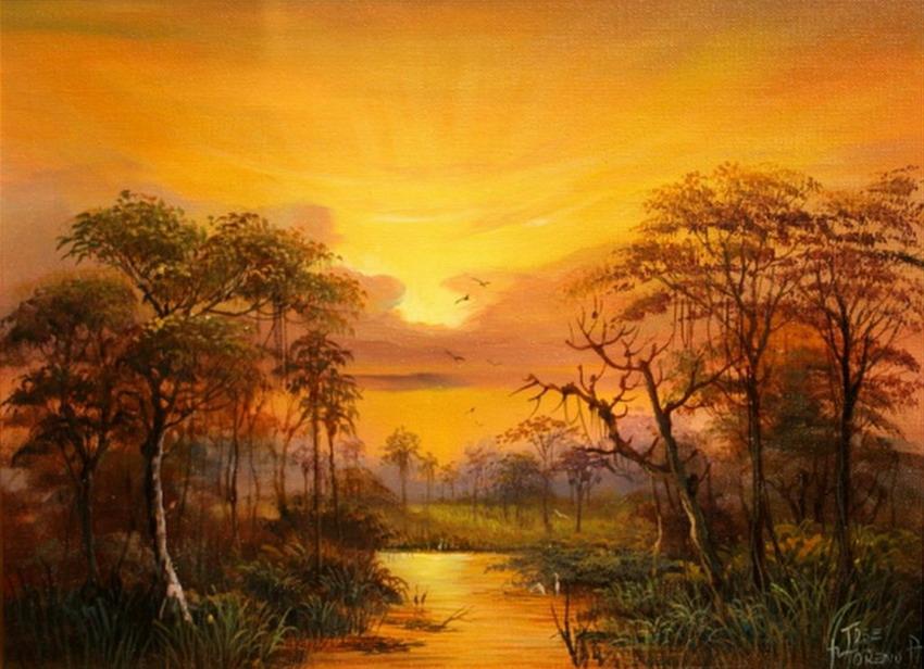 Im genes arte pinturas paisajes salvajes de la selva - Cuadros de atardeceres ...