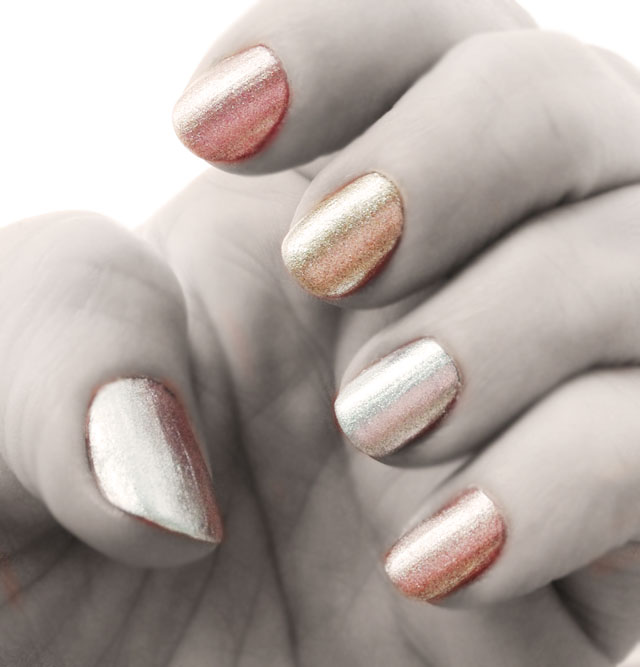 gold metallic trio nails
