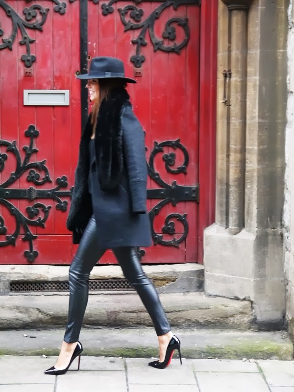 Fedora, Coat, Chanel Handbag, Leather Leggings, Christian Louboutin Pigalle Stilettos, Mayfair