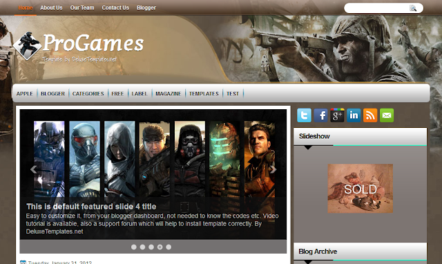 Pro Games Gaming Blogger Template