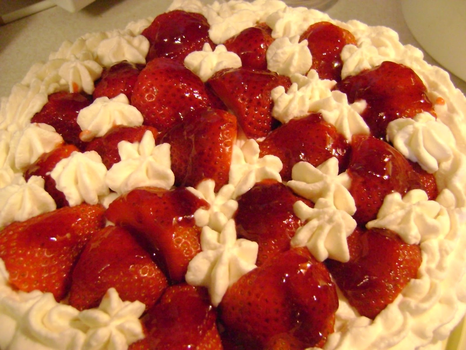 ... : Chiffon Cake with Strawberries and Whipped Cream Cheese Frosting