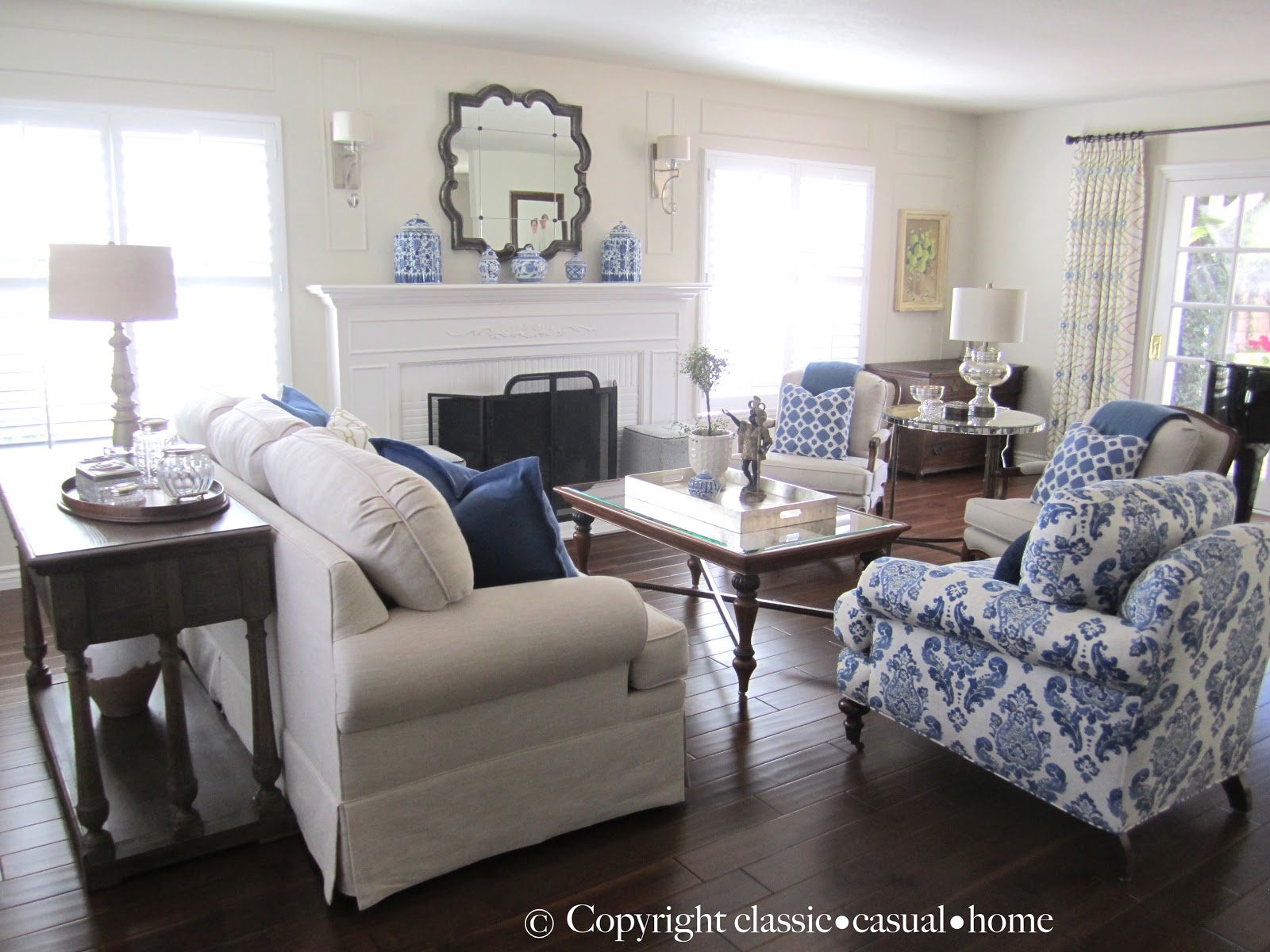 Blue white and silver timeless design classic casual home for Blue living room decor ideas