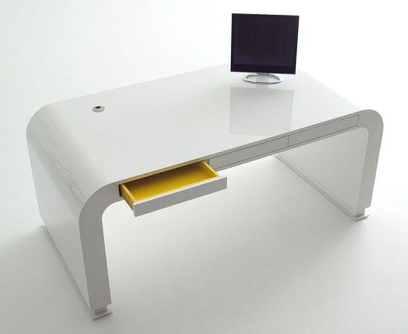 white modern simple home office furniture computer