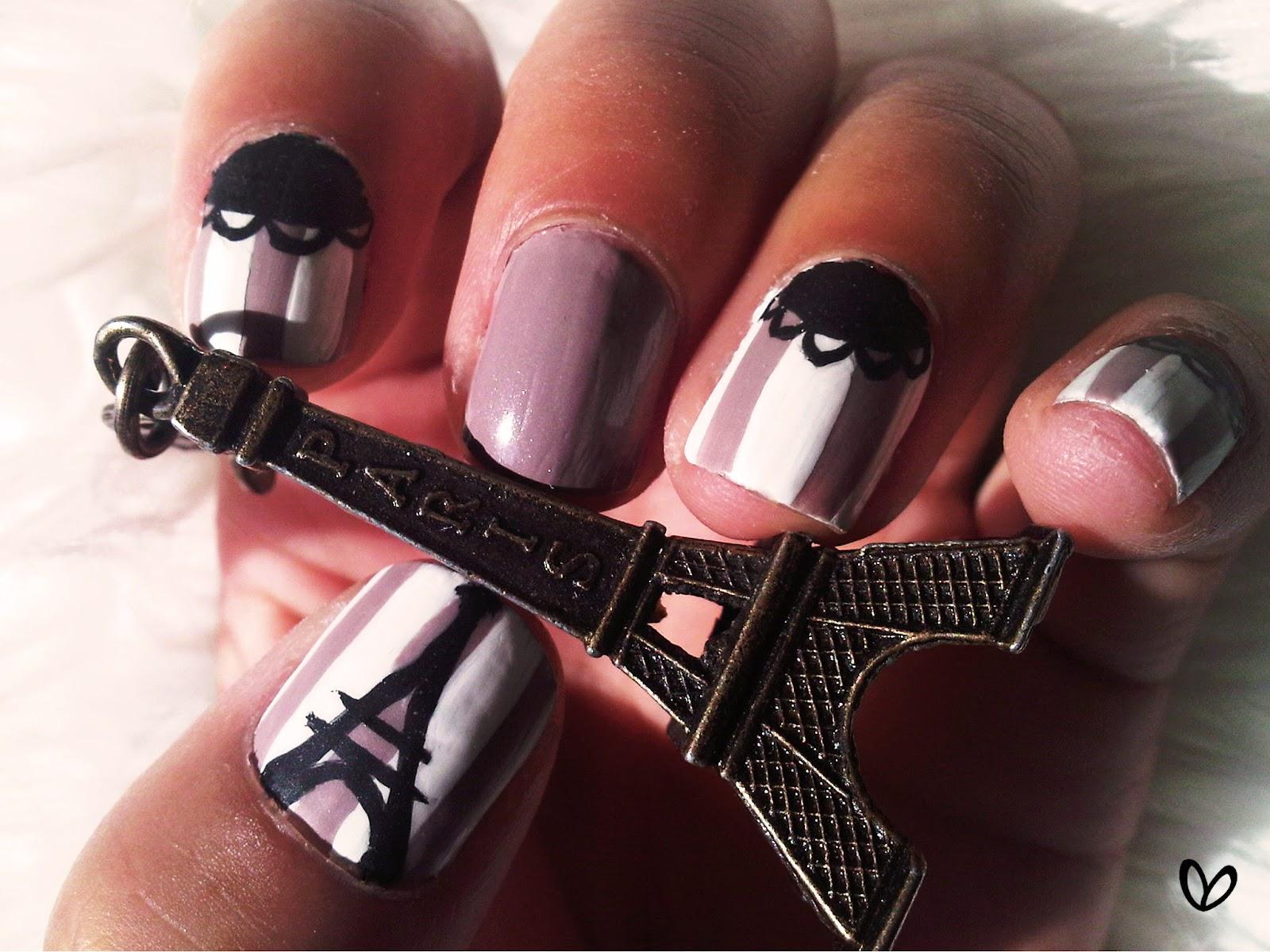 Дизайн эйфелевой башни на ногтях стразами фото