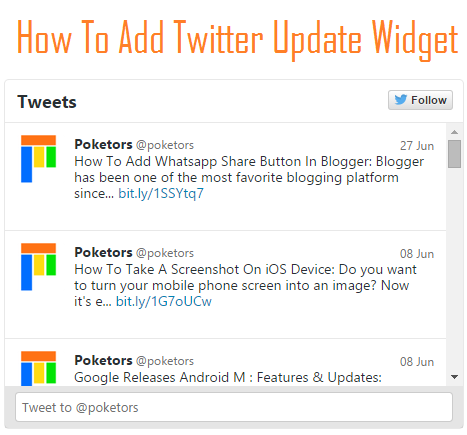 How To Add Twitter Update Widget To Blogger / Blogspot