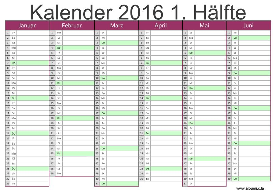 ... 2016 1. Hälfte | 2016 Blank Calendar - calendar en - WWW.ALBUMI.C.LA