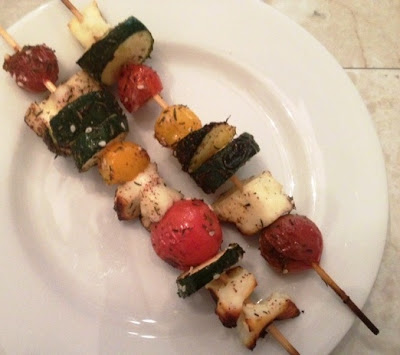 Grilled Vegetable Kabobs With Halloumi Cheese & Zatar recipe