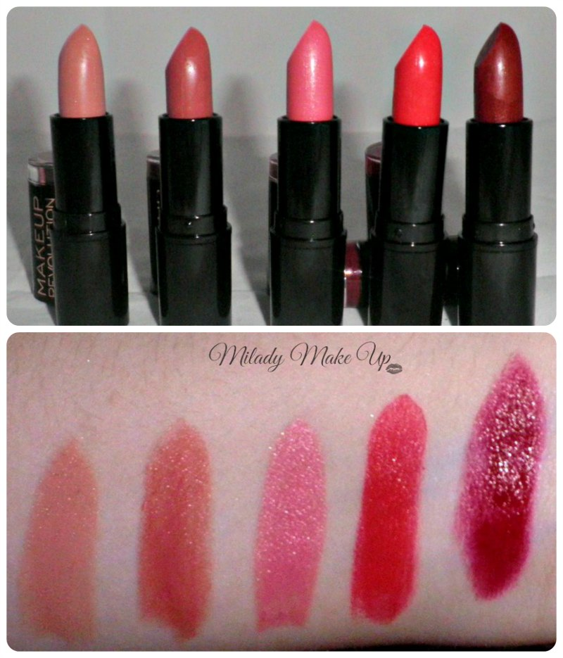 Makeup Revolution lipstick swatches The One treat dusky lady Reckless