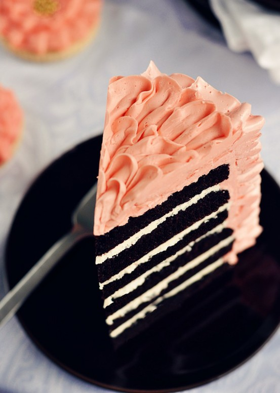 dark chocolate cake with swiss meringue buttercream