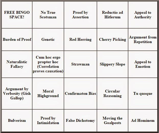 thatjeffcarter was here: Logical Fallacy Bingo