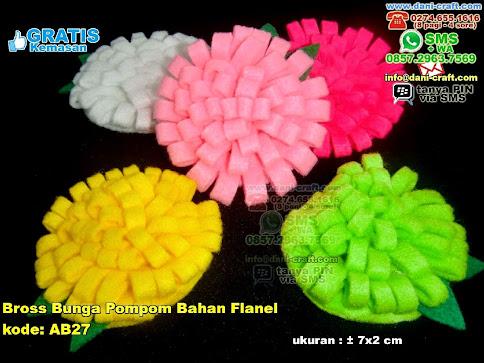 Bross Bunga Pompom Bahan Flanel Flanel