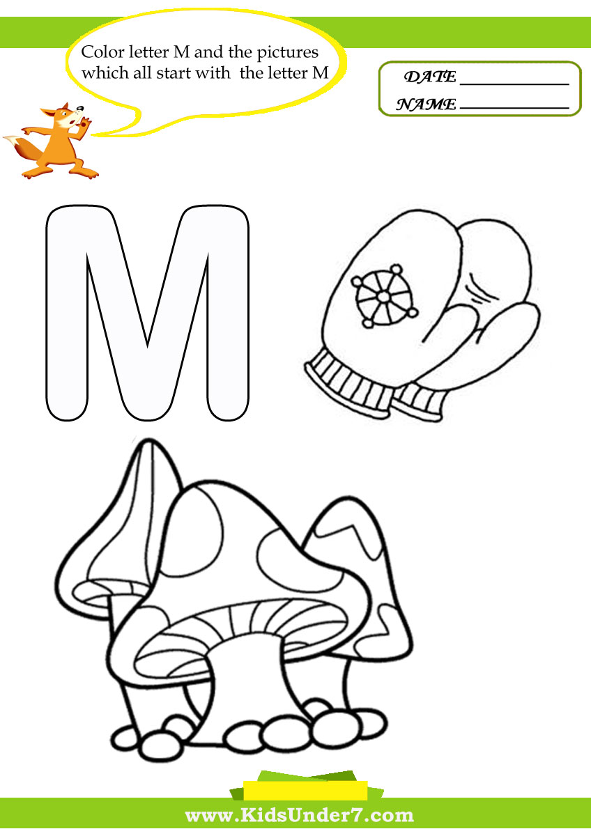 Kids Under 7 Letter M Worksheets and Coloring Pages – Letter M Worksheets for Kindergarten