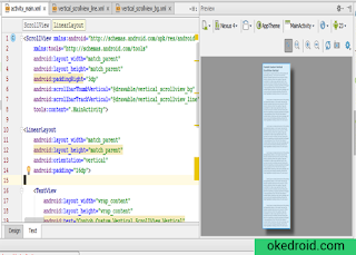 Preview Contoh Custom ScrollView Vertical di Android Studio