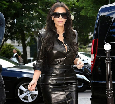 Kim Kardashian leather hot