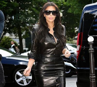 Kim Kardashian leather hot