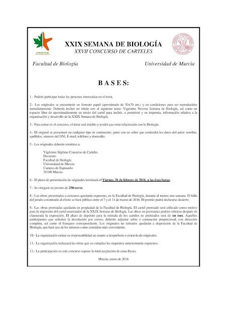 Concurso de carteles de la XXIX Semana de Biología.