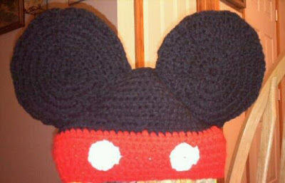 Shades of Safhire -Crocheted Mickey Mouse hat with revision