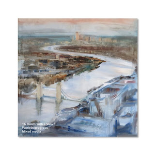 mixed media on canvas view from the Shard