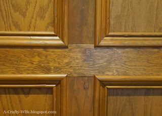 detail look at trimwork on judges wood paneling  | A Crafty Wife