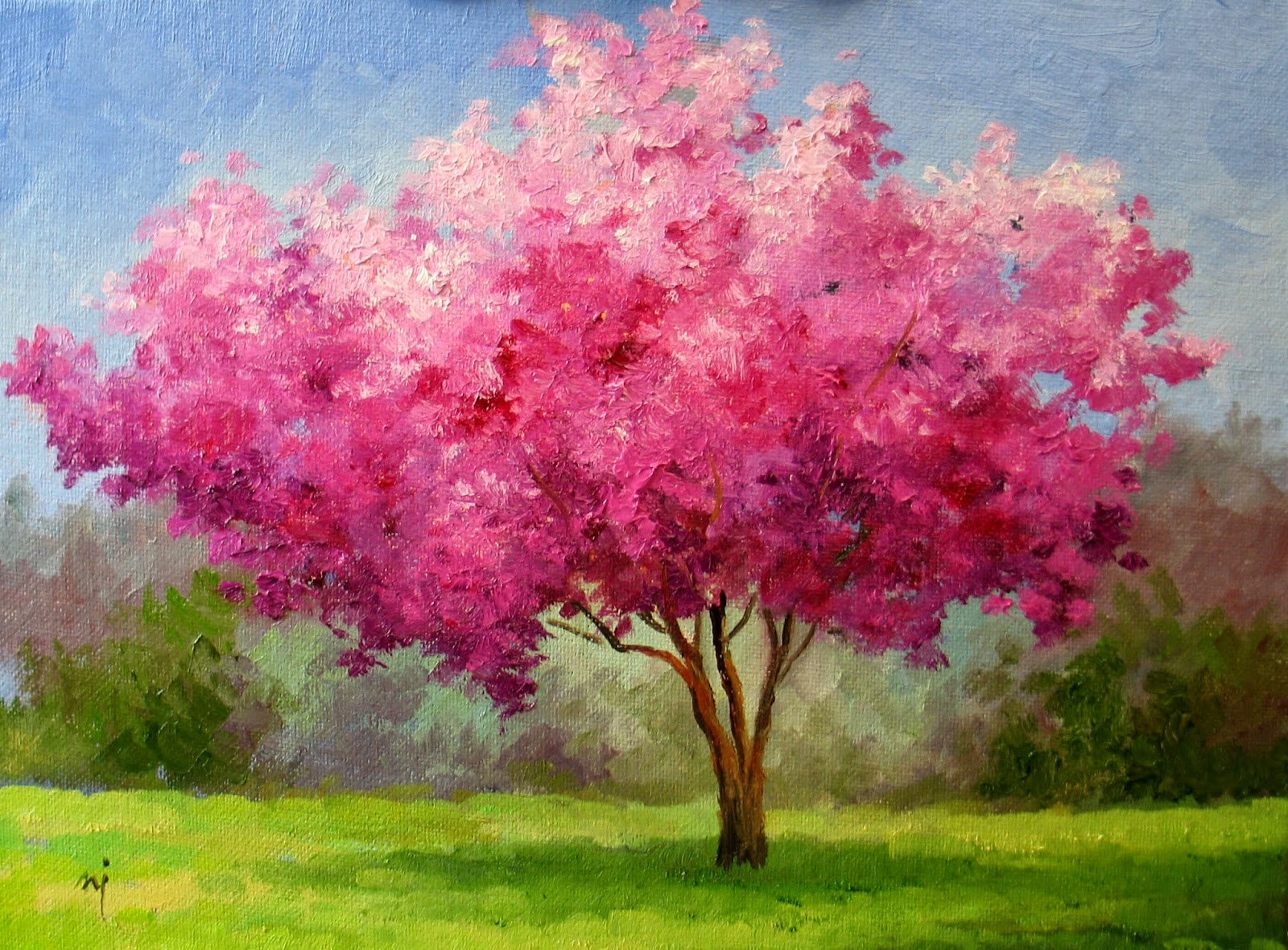 Nel 39 s everyday painting cherry blossom tree sold for Canvas painting of cherry blossoms