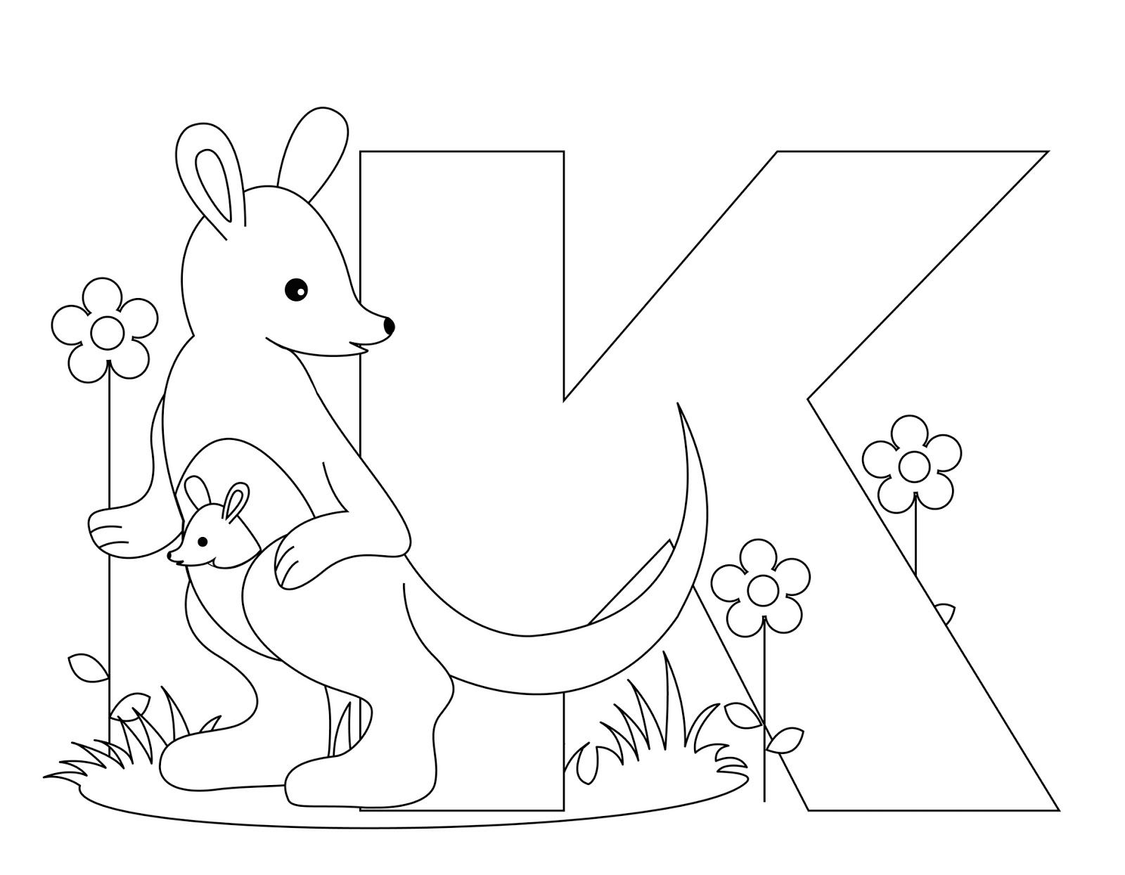 Animal Alphabet Coloring Pages Printable : Animal alphabet letter k coloring child