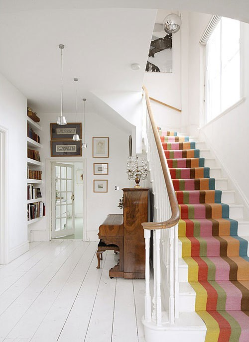 Runner carpet ideas by hintmama on pinterest stair for Painted stairs with runner